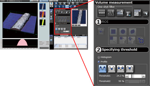 DSX500 Microscope 3D Area and Volume measurement Software Screenshot