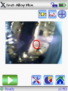 Screenshot of DELTA with 3 mm collimation on gold precious metal