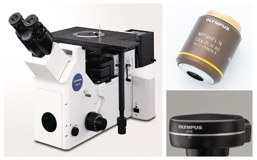 Inverted Metallurigacal Microscope, 10x Metallurgical Objective Lens, Microscope-Specific High-Resolution Digital Camera.