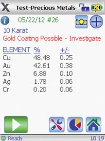 Пример сообщения при обнаружении золота в покрытии