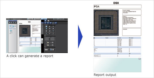 DSX500 Microscope Report Result Function Screenshot
