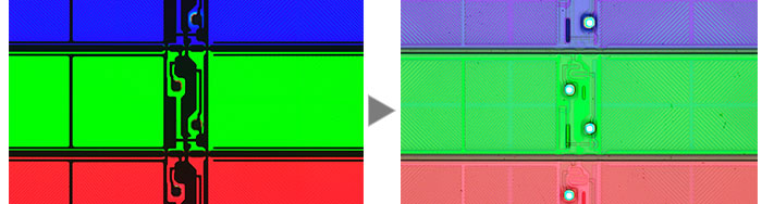 An LCD color filter (Left: Transmitted Light / Right: MIX (Transmitted Light + Brightfield))