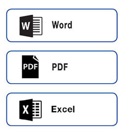 The software supports output formats such as MS Word or PDF or Excel.