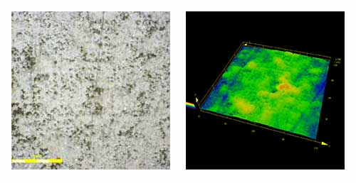 A high-resolution image and 3D model of a copper surface
