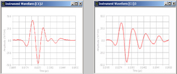 Left: 100 MHz transducer with 300 mm cable (optimum waveform) Right: 100 MHz transducer with 900 mm cable (increased ringing)