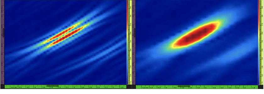 figure 1: (left) standard TFM. (right) TFM envelope of the exact same SDH