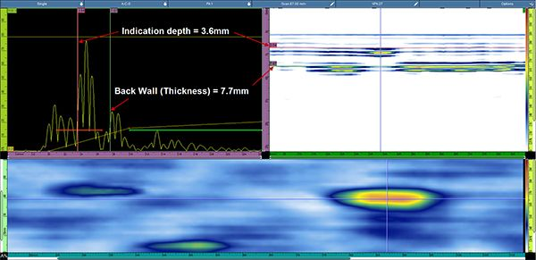 A clear view of the simulated defect located at 3.6 mm under the surface.