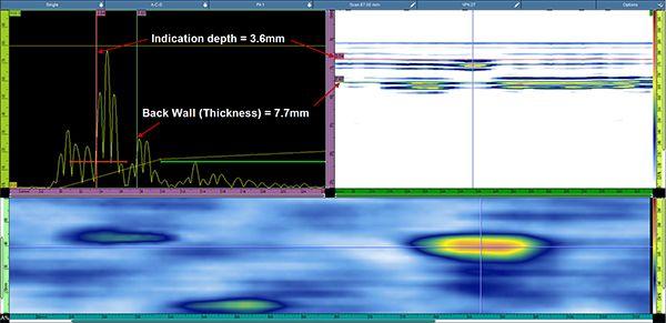 位於表面下方3.6毫米處的模擬缺陷的清晰視圖。
