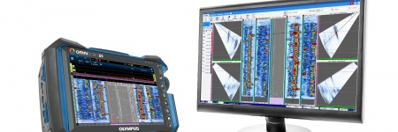 OmniScan X3 phased array flaw detector and WeldSight advanced analysis software on a computer screen