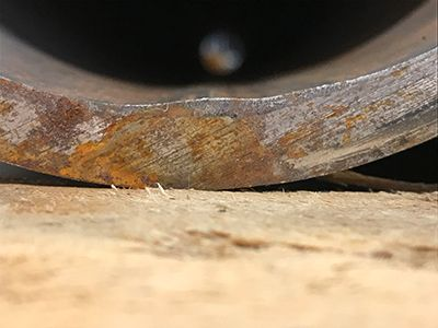 ERW pipe with an example of undercut weld